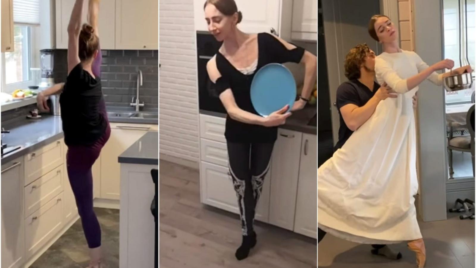 Clip vũ công người Nga biểu diễn ba-lê trong bếp vì Covid-19