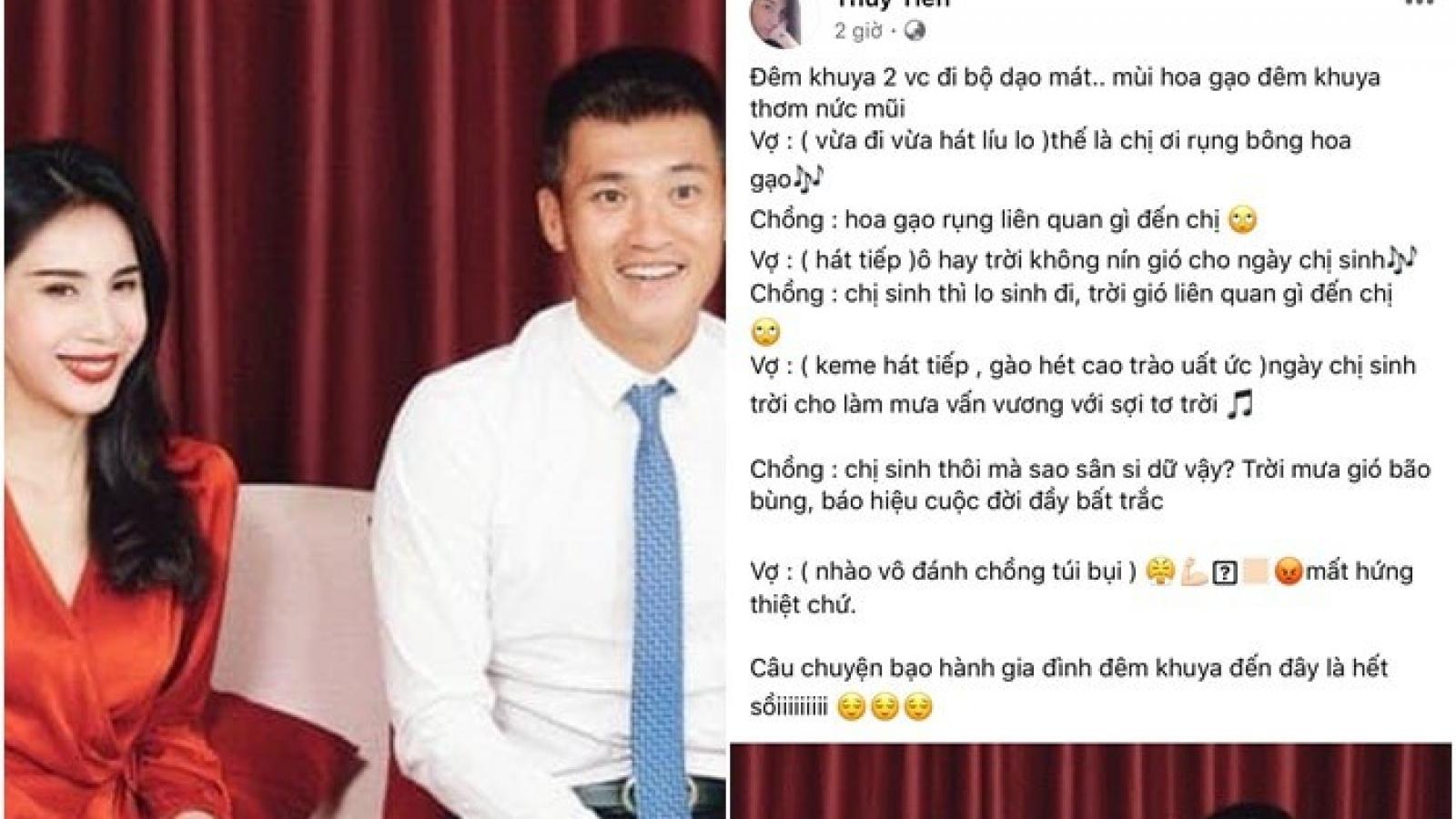 """Chuyện showbiz: Công Vinh bị Thủy Tiên """"đánh"""" lúc nửa đêm"""