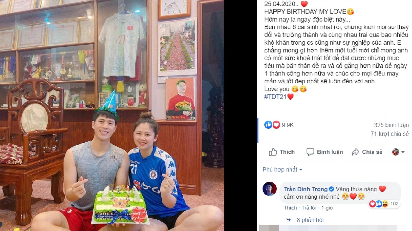 Đình Trọng nhận lời chúc đặc biệt từ bạn gái trong ngày sinh nhật