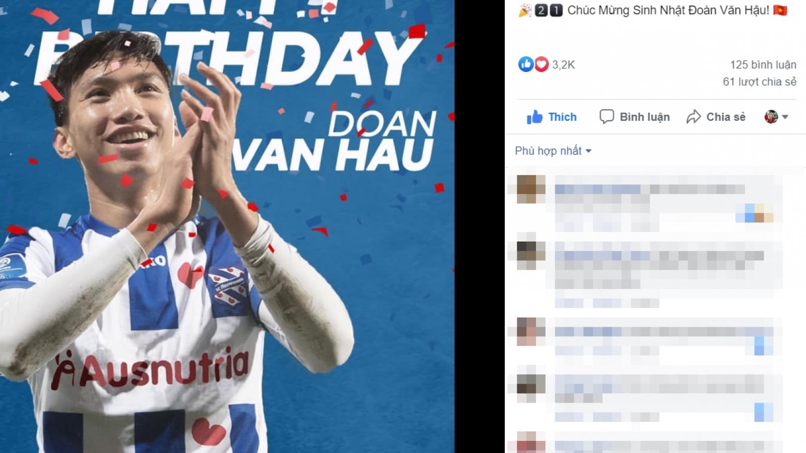 Học trò cưng của HLV Park được SC Heerenveen chúc mừng sinh nhật