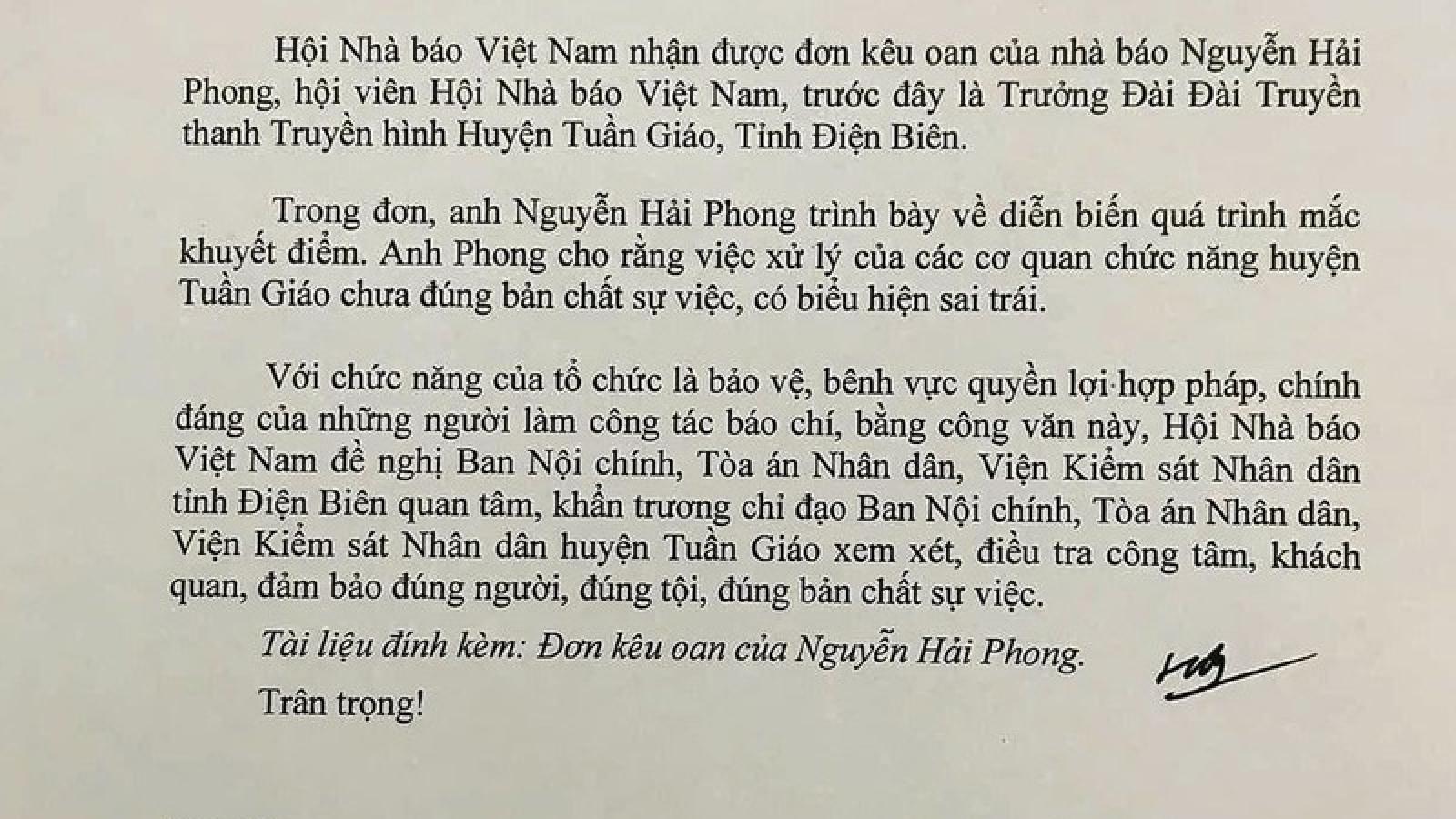 Hội Nhà báo đề nghị điều tra công tâm vụ án nhà báo Nguyễn Hải Phong