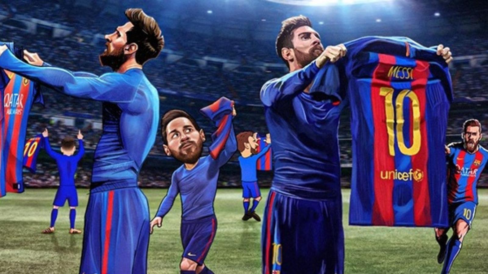Biếm họa 24h: Lionel Messi và màn ăn mừng khiến Ronaldo phải chết lặng