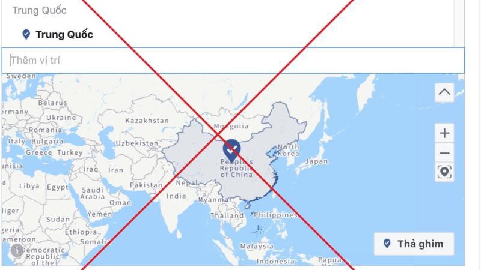 Bản đồ của Facebook về Trường Sa - Hoàng Sa có sự sai lệch