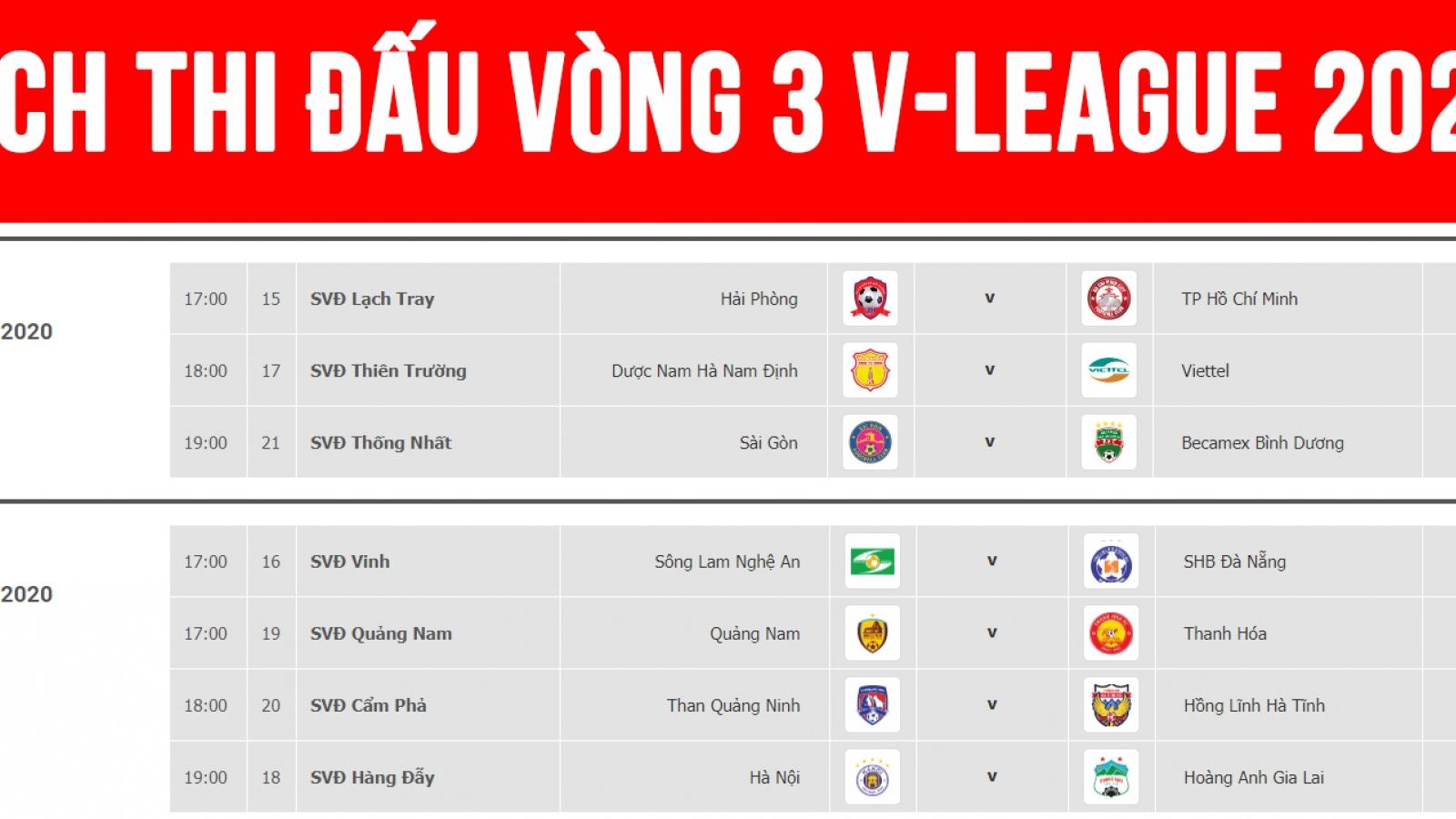 Lịch thi đấu vòng 3 V-League 2020: Hà Nội FC đại chiến HAGL