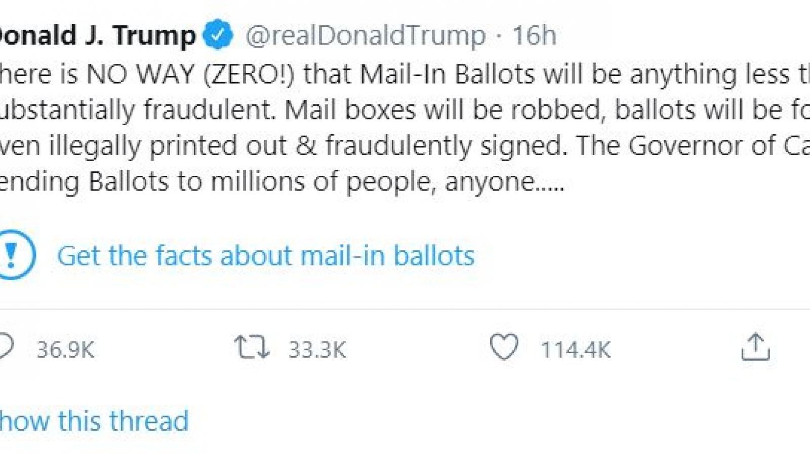 """Ông Trump giận dữ vì các tweet bị Twitter dán nhãn """"gây hiểu lầm"""""""