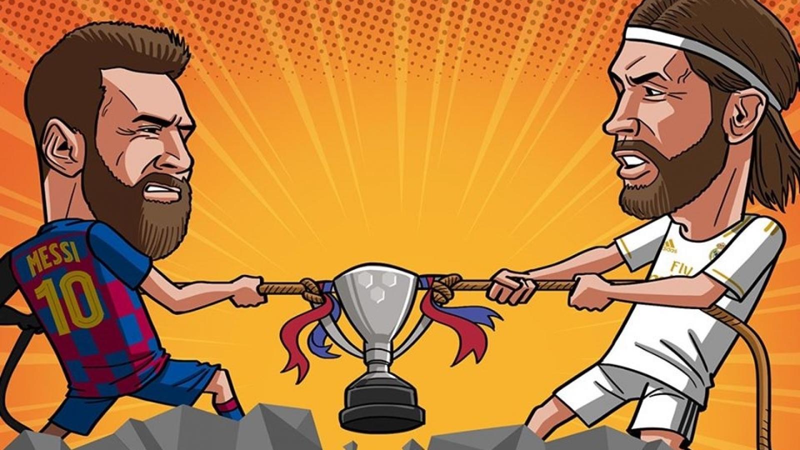 Biếm họa 24h: La Liga trở lại, chức vô địch về tay Barca hay Real Madrid?