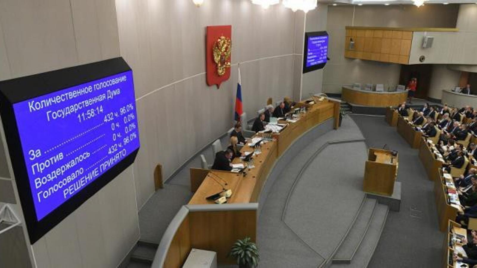 6 nghị sĩ Duma Quốc gia Nga mắc Covid-19