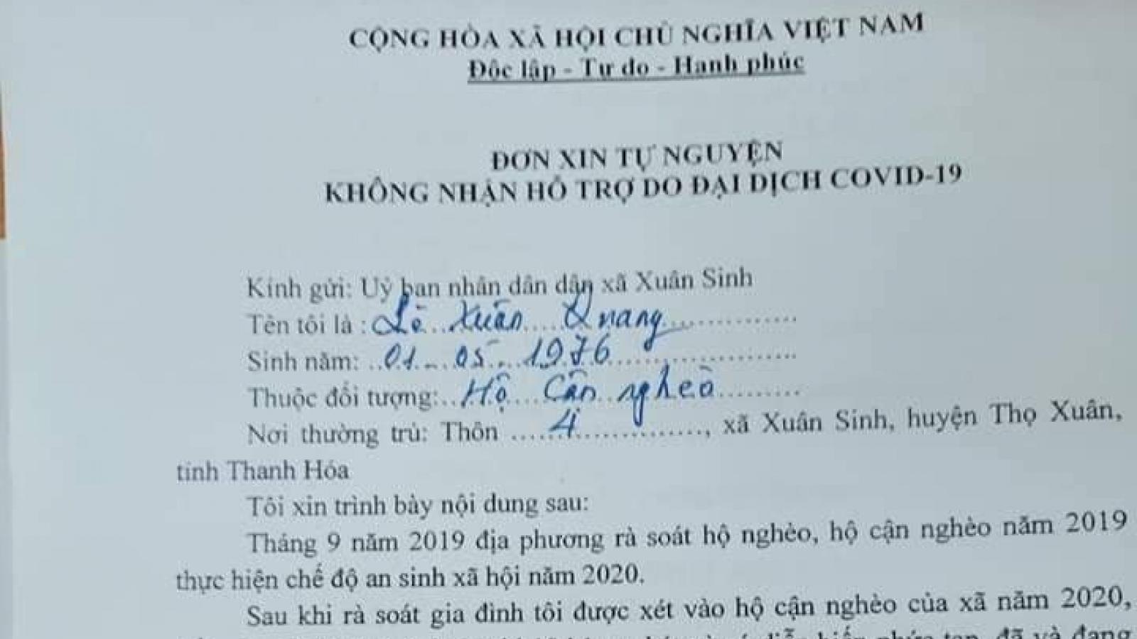 Người dân Thanh Hóa xin không nhận hơn 1,4 tỷ tiền hỗ trợ Covid-19