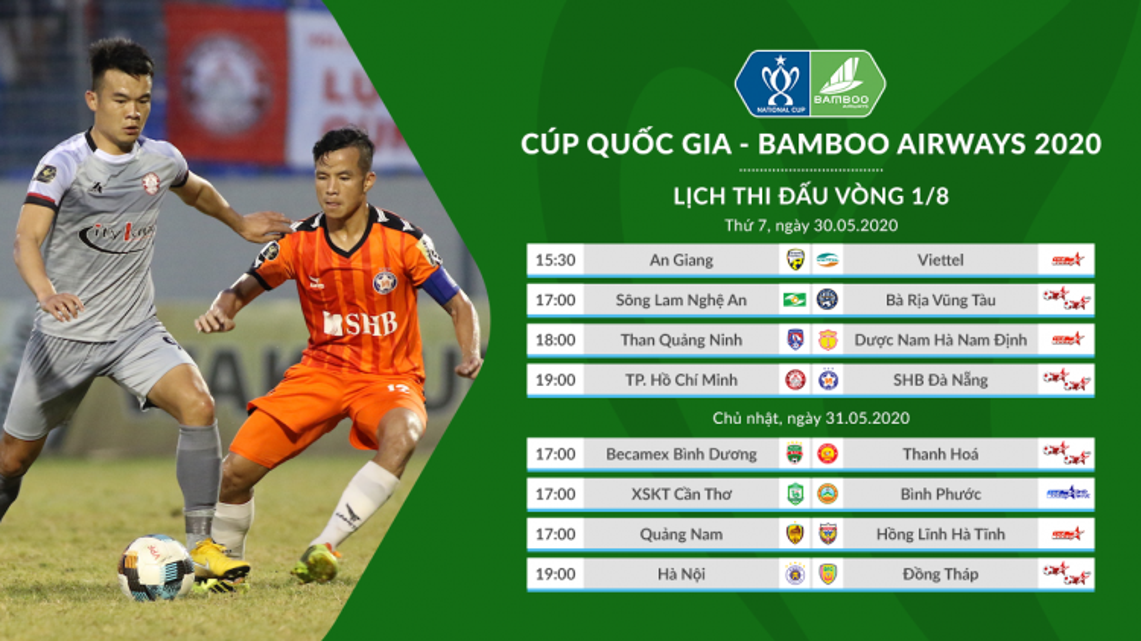 Lịch bóng đá hôm nay 30/5: TPHCM đấu Đà Nẵng, Quảng Ninh tiếp Nam Định