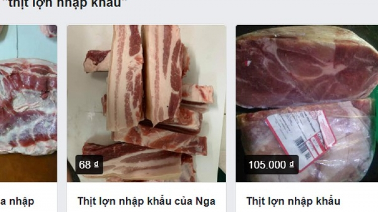 """Thịt lợn nhập khẩu rao bán tràn lan trên chợ mạng, giá """"loạn"""""""