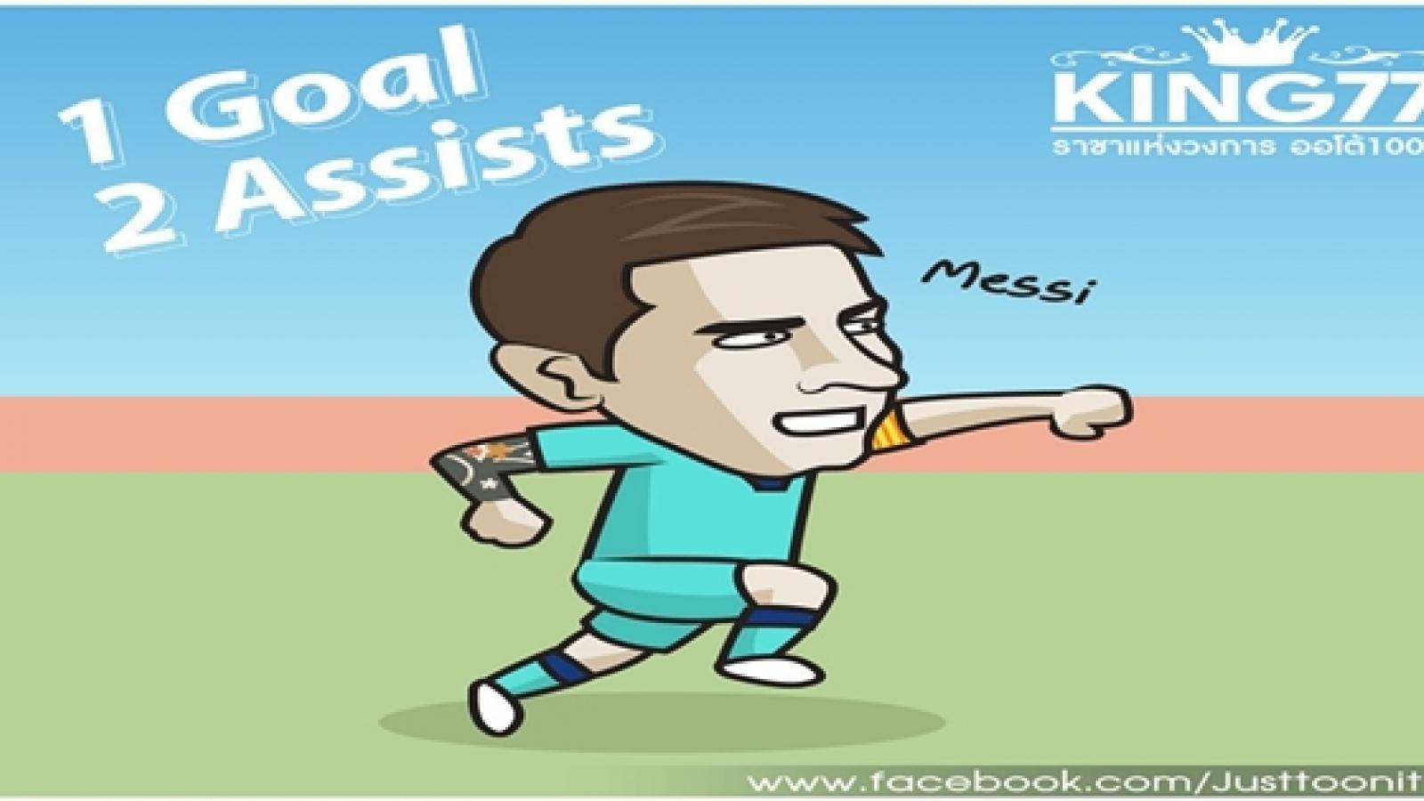 Biếm họa 24h: Lionel Messi trở lại ấn tượng hơn hẳn Cristiano Ronaldo