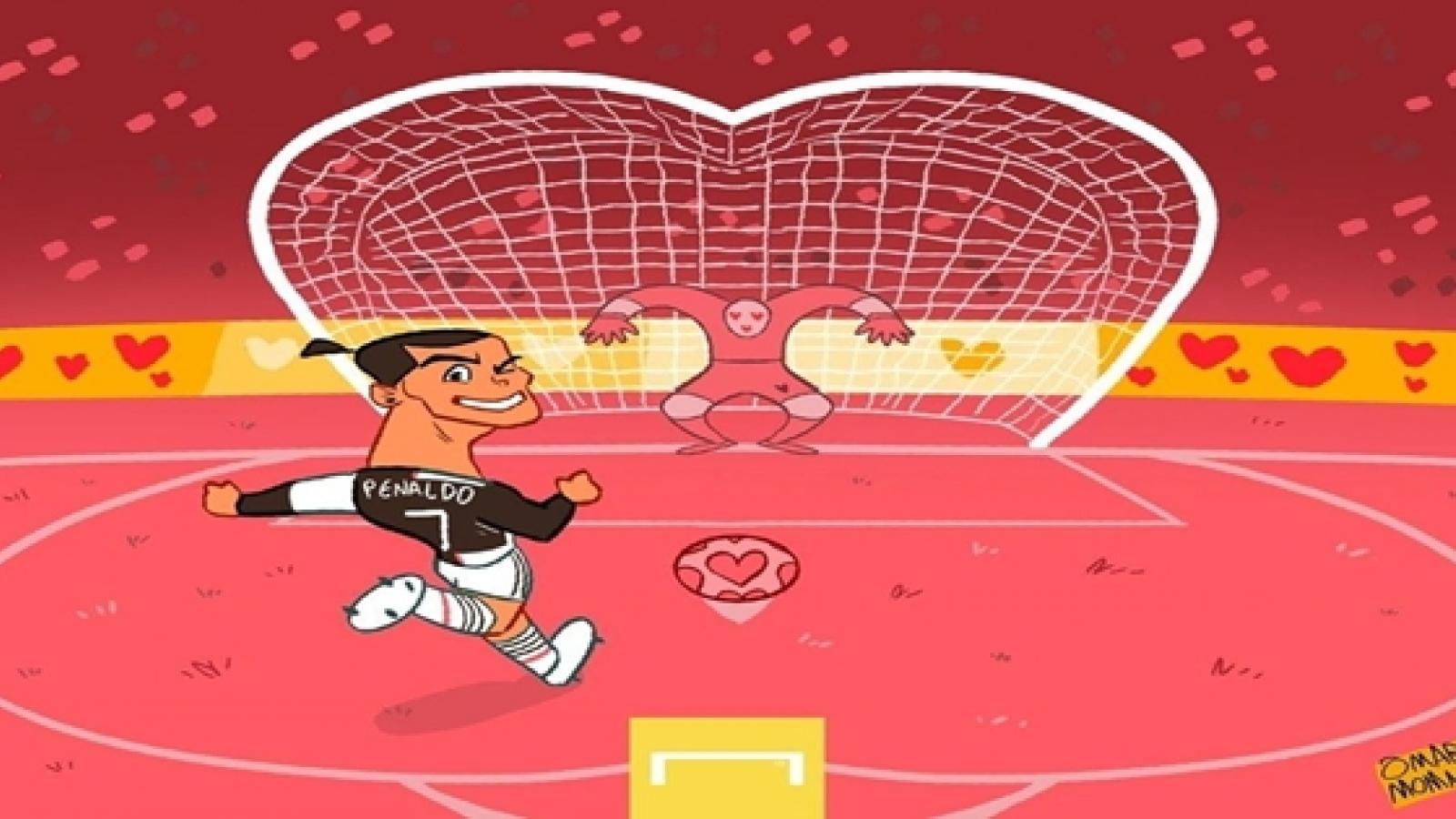 """Biếm họa 24h: Cristiano Ronaldo """"yêu say đắm"""" những quả penalty"""