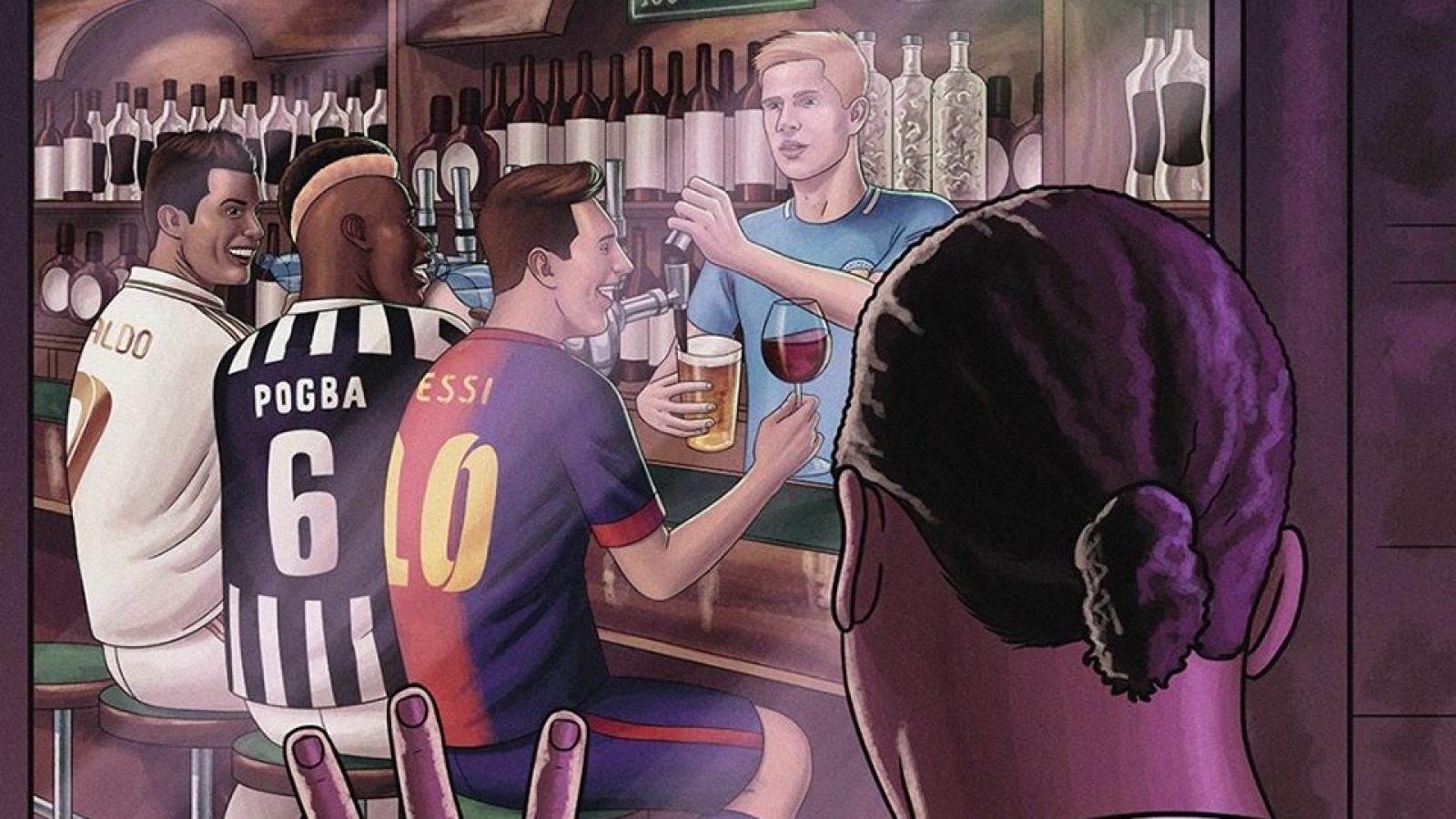 Biếm họa 24h: Van Dijk ngậm ngùi nhìn Messi và Ronaldo nâng ly