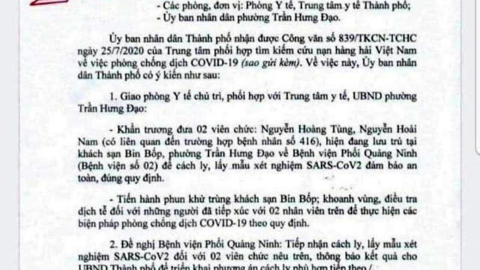 Quảng Ninh cách ly 2 trường hợp liên quan tới bệnh nhân 416