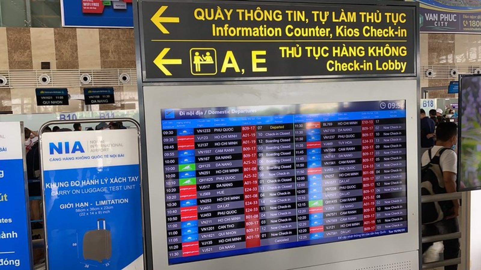 Sân bay Nội Bài ngừng phát thanh thông tin chuyến bay từ 30/7