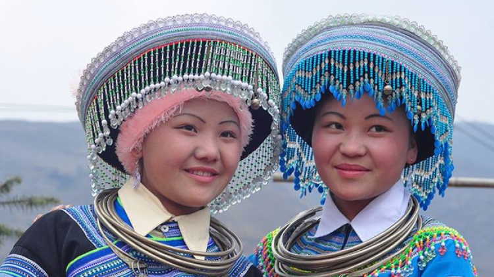 Colourful headdresses of ethnic girls in northwestern mountainous region