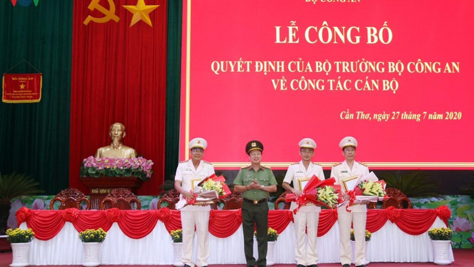 Bổ nhiệm 3 Phó Giám đốc Công an thành phố Cần Thơ
