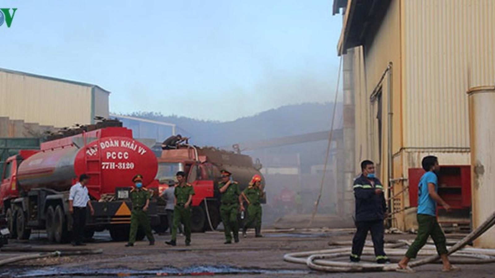Cháy lớn tại Công ty Nông Trại Xanh ở Bình Định