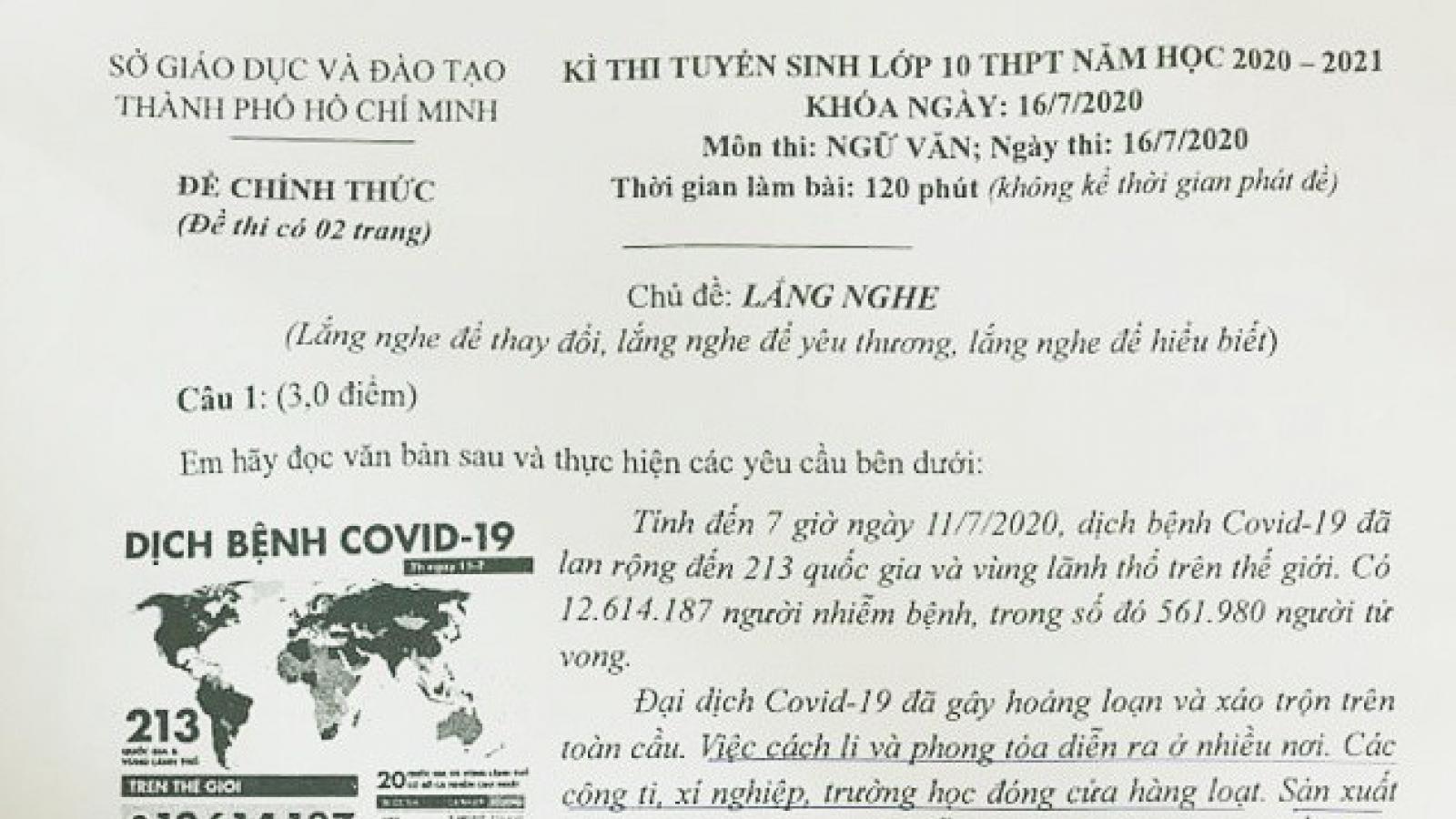Dịch Covid-19 trong đề thi Ngữ văn thi vào lớp 10 ở TPHCM