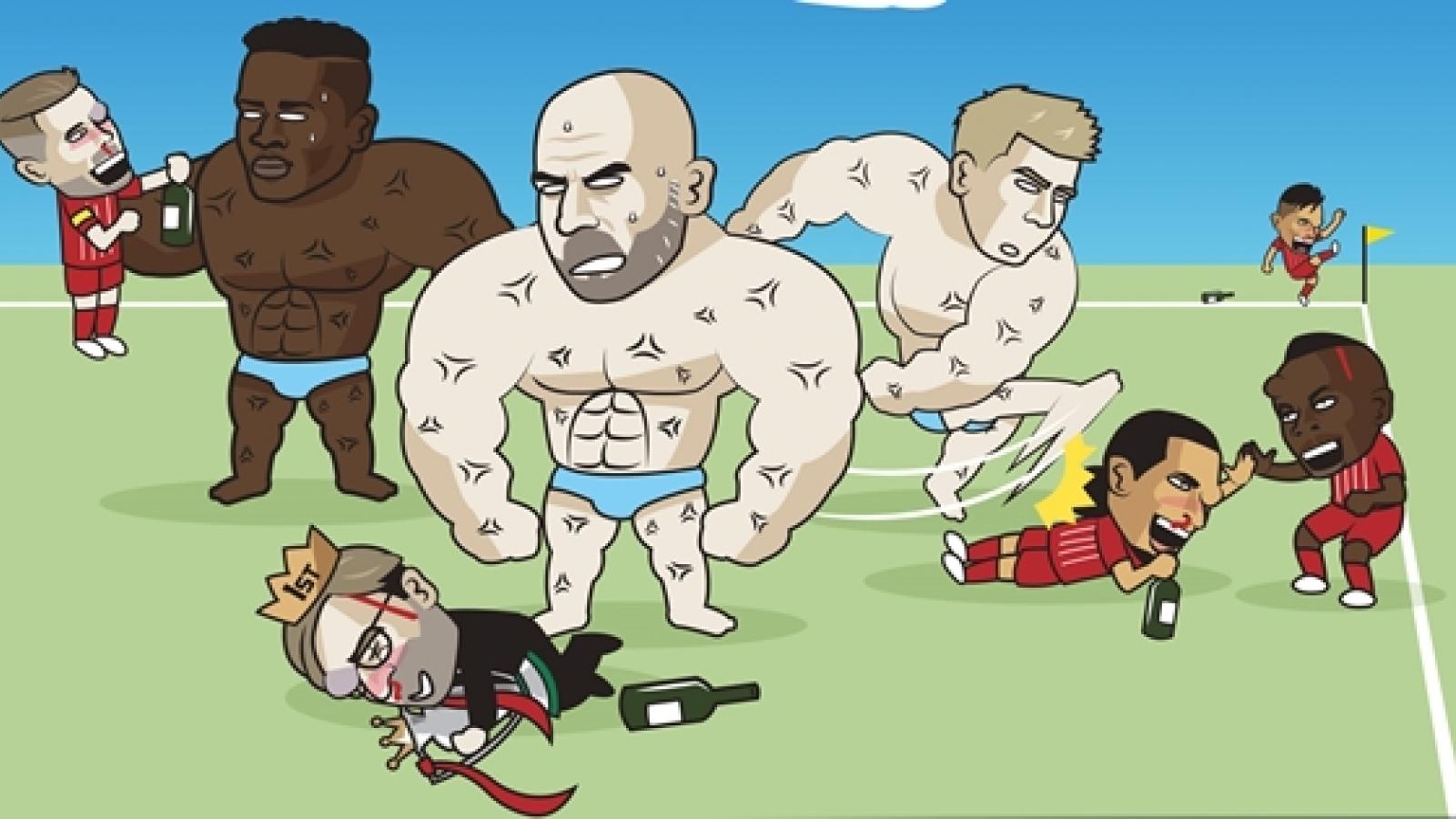 Biếm họa 24h: Mải mê ăn mừng chức vô địch, Liverpool thua thảm Man City