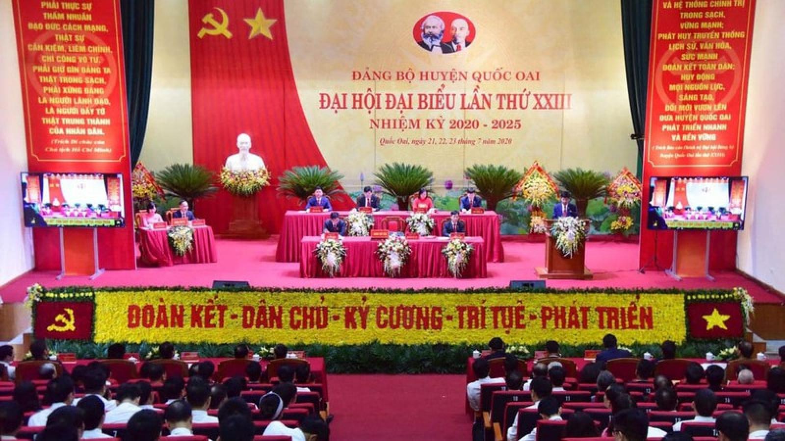 Ông Vương Đình Huệ dự Đại hội đại biểu Đảng bộ huyện Quốc Oai