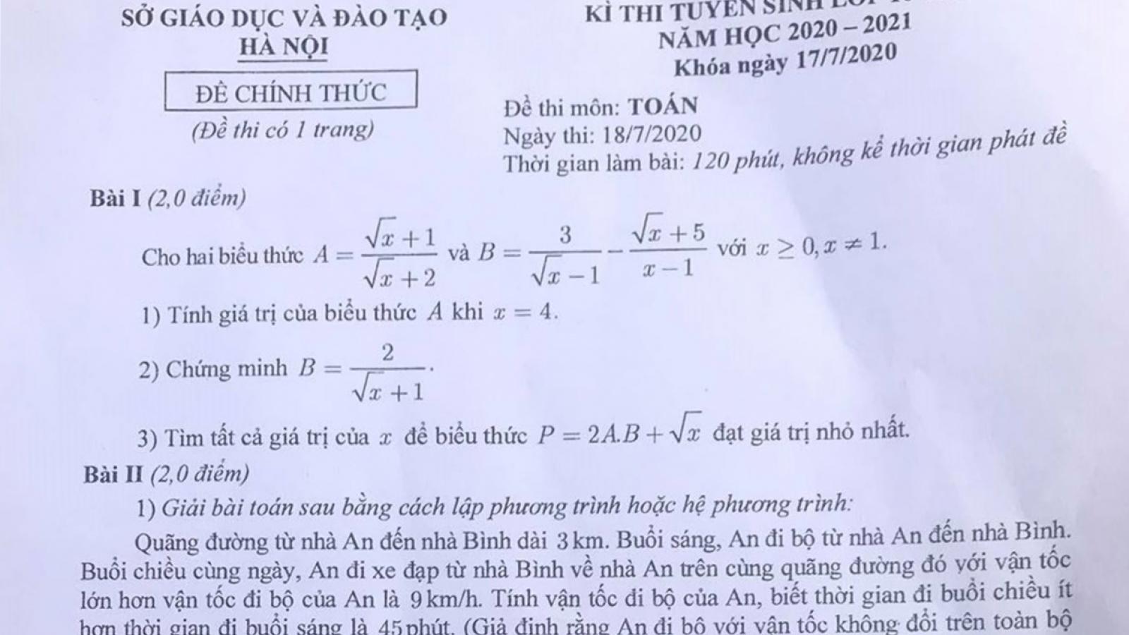 Đề thi Toán vào lớp 10 THPT tại Hà Nội