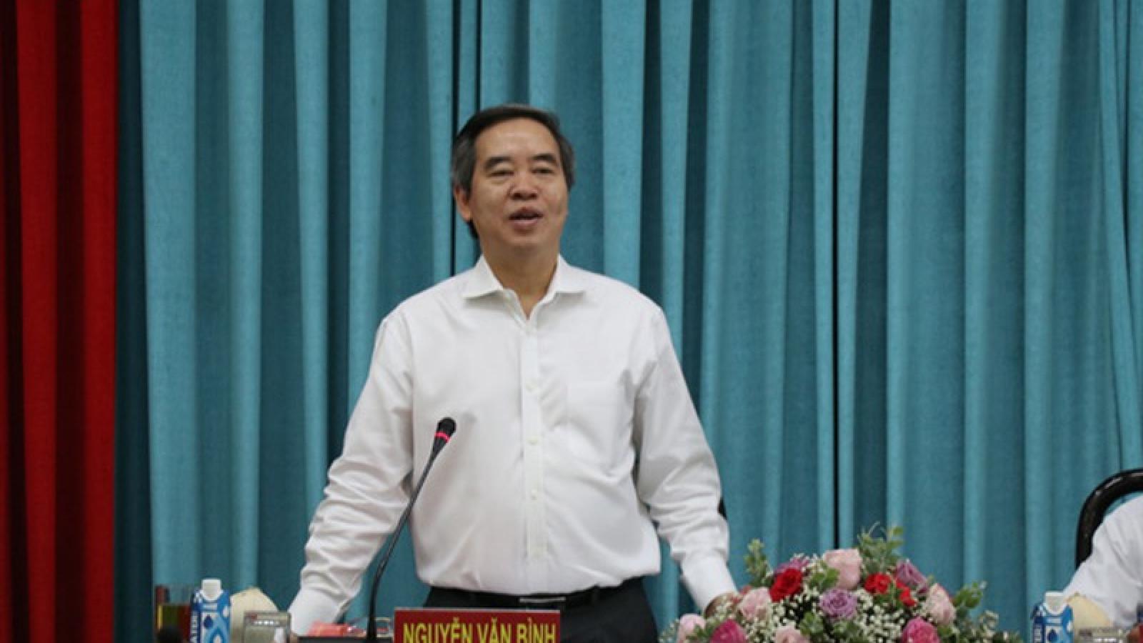 Trưởng Ban Kinh tế Trung ương Nguyễn Văn Bình làm việc tại Tỉnh ủy Bến Tre