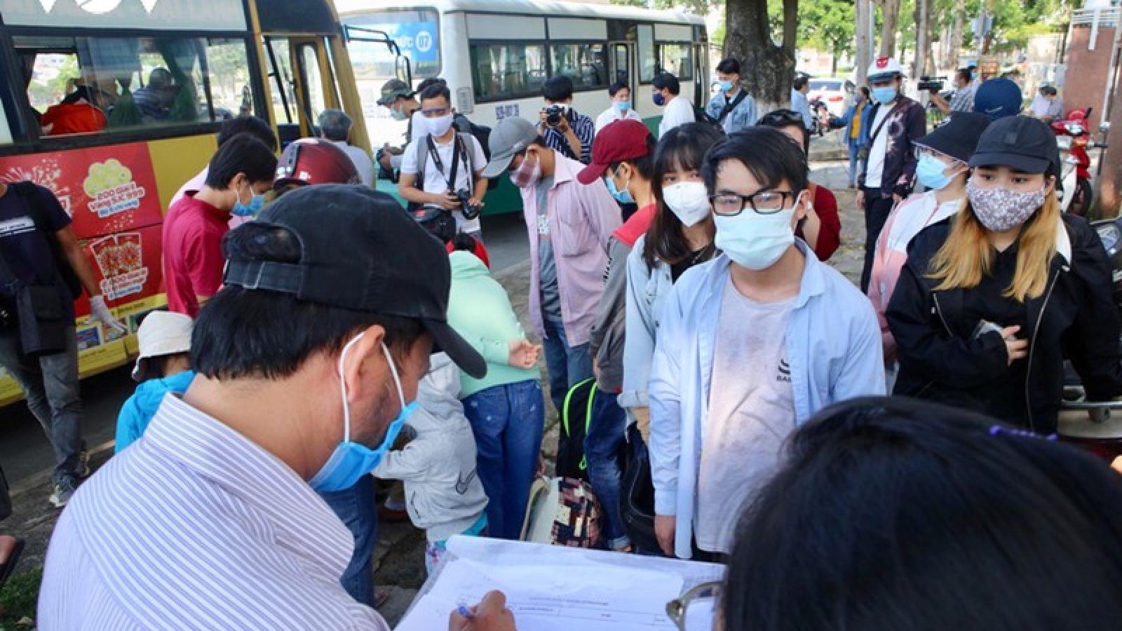 Học sinh, sinh viên Quảng Nam bị kẹt ở Đà Nẵng được về địa phương