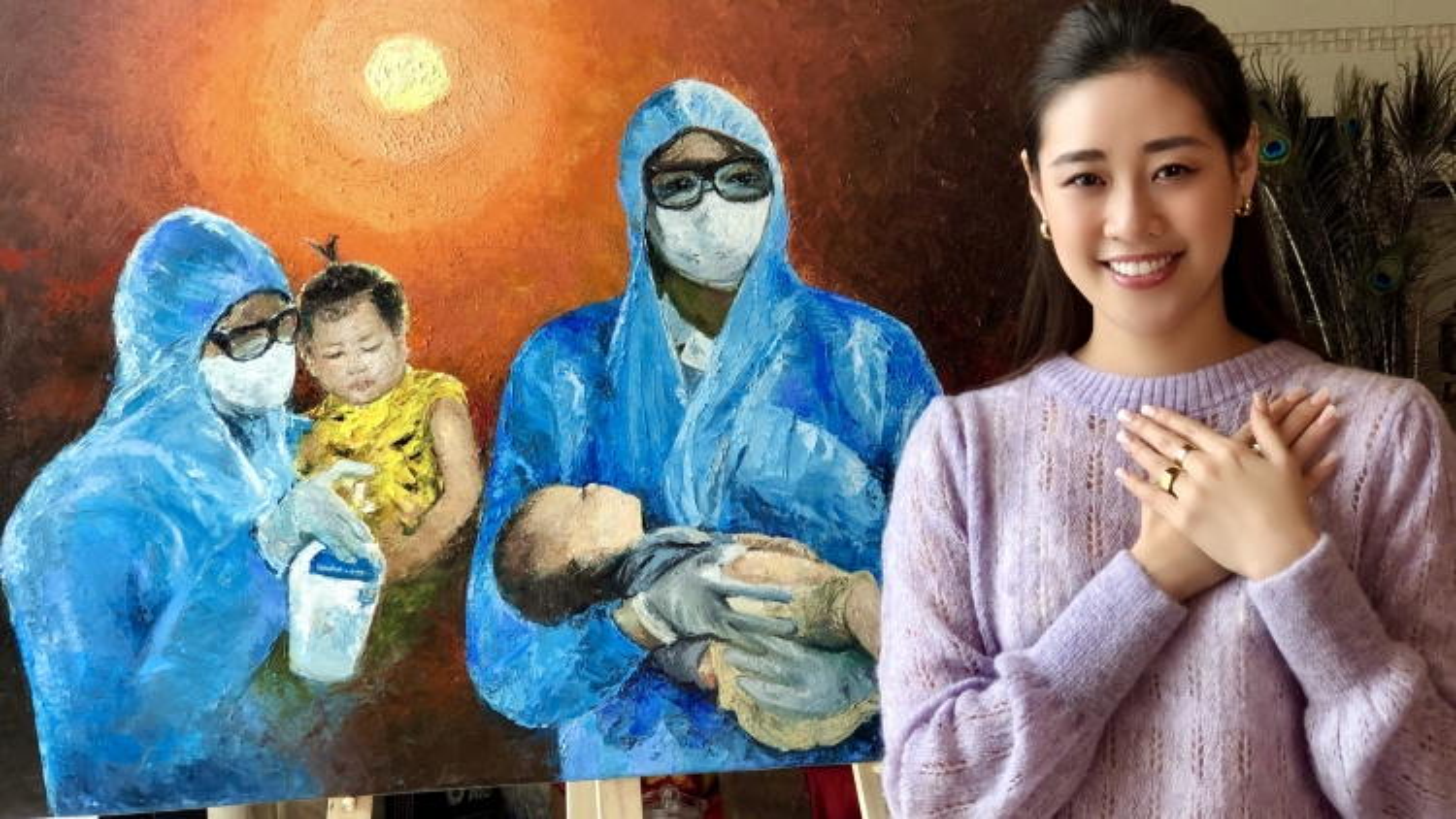 """Hoa hậu Khánh Vân vẽ tranh tri ân """"Những trái tim dũng cảm"""" chống dịch Covid-19"""