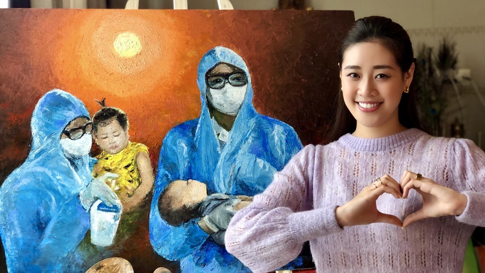 Hoa hậu Khánh Vân thừa nhận thiếu sót khi vẽ tranh chưa xin phép
