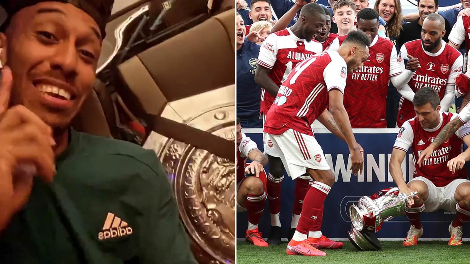 Aubameyang thắt dây an toàn cho Siêu cúp Anh trên xe bus Arsenal