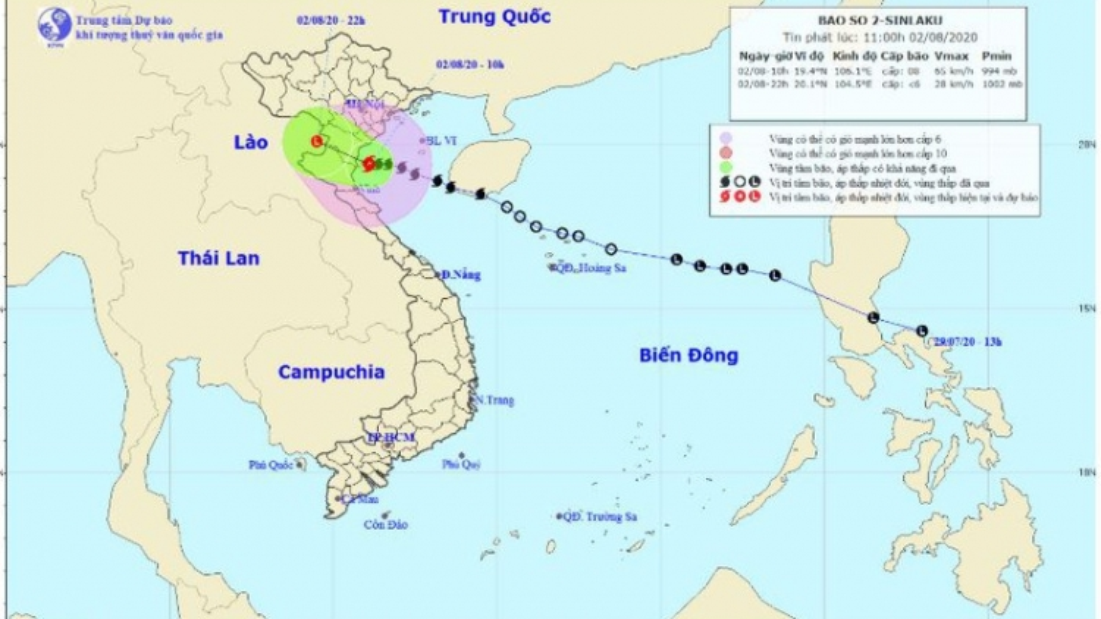 Bão số 2 sẽ đi vào đất liền từ Ninh Bình đến Nghệ An trong 12 giờ tới