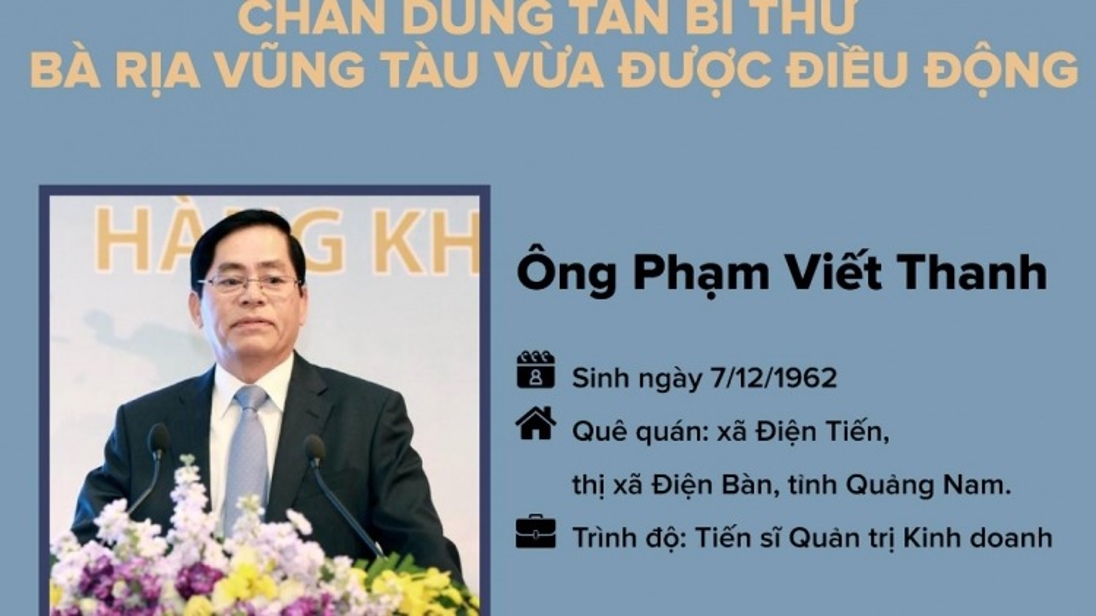 Infographics: Chân dung ông Phạm Viết Thanh, tân Bí thư Bà Rịa - Vũng Tàu