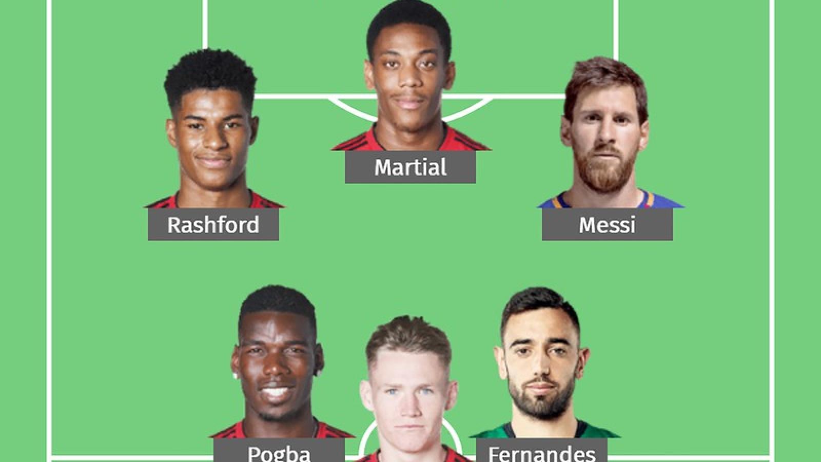 """Đội hình """"siêu tấn công"""" của MU khi mua thành công Messi"""