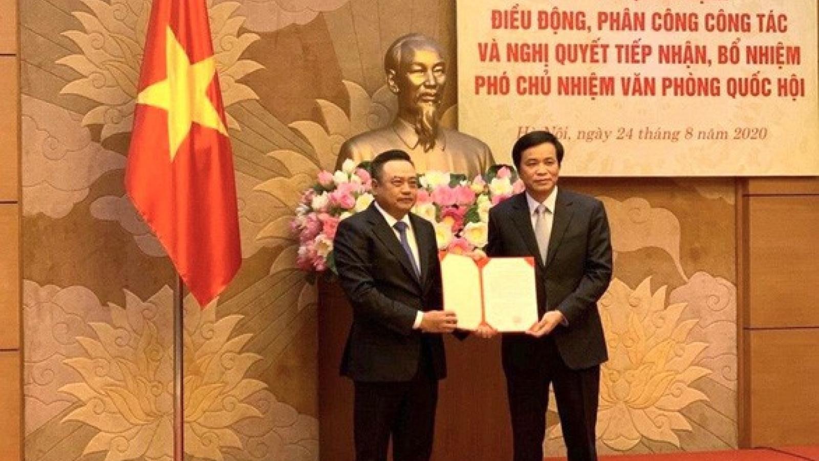 Ông Trần Sỹ Thanh giữ chức Phó Chủ nhiệm Văn phòng Quốc hội