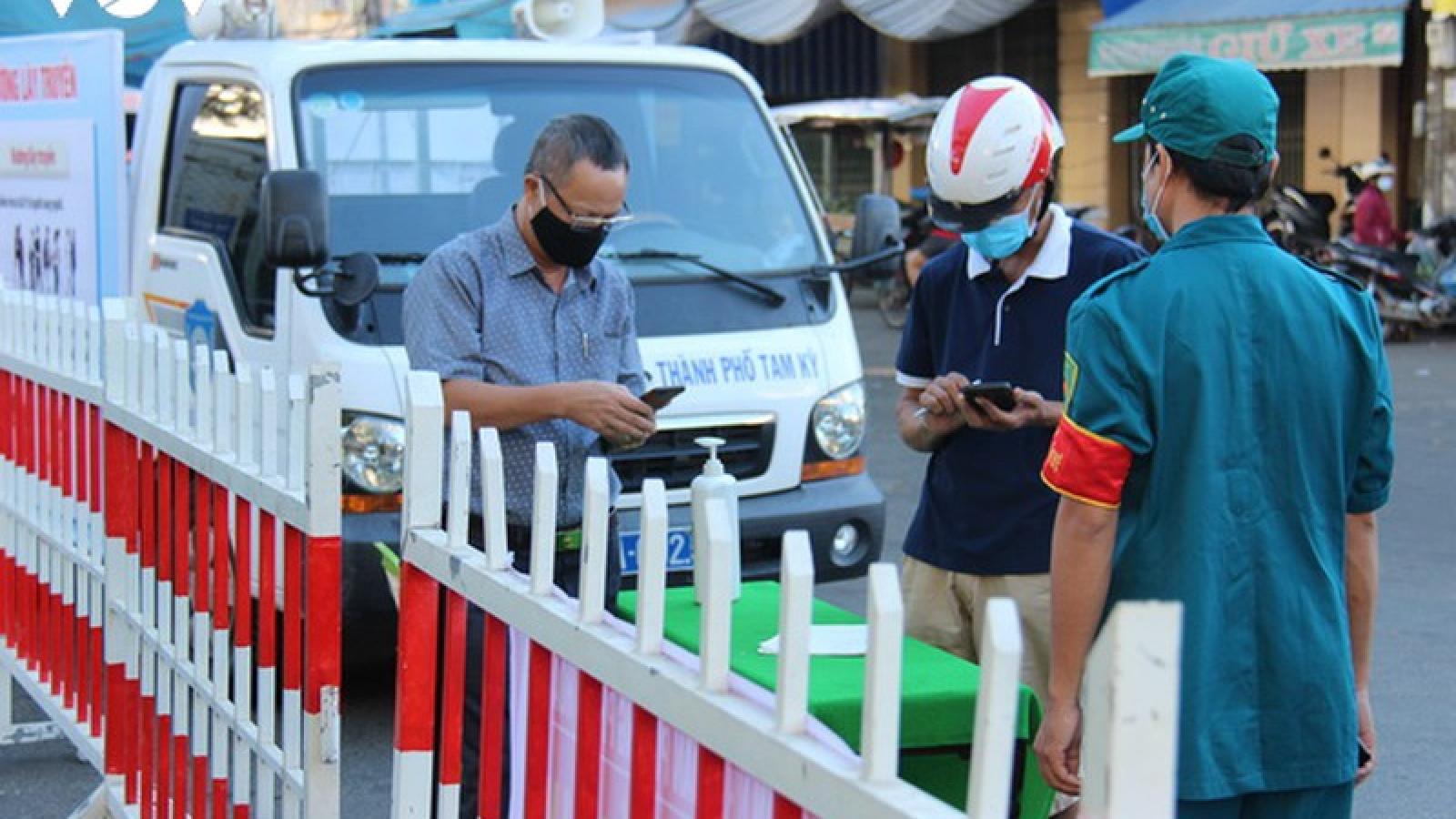 Phong tỏa một khu vực gần chợ Tam Kỳ do bé trai nghi nhiễm Covid-19