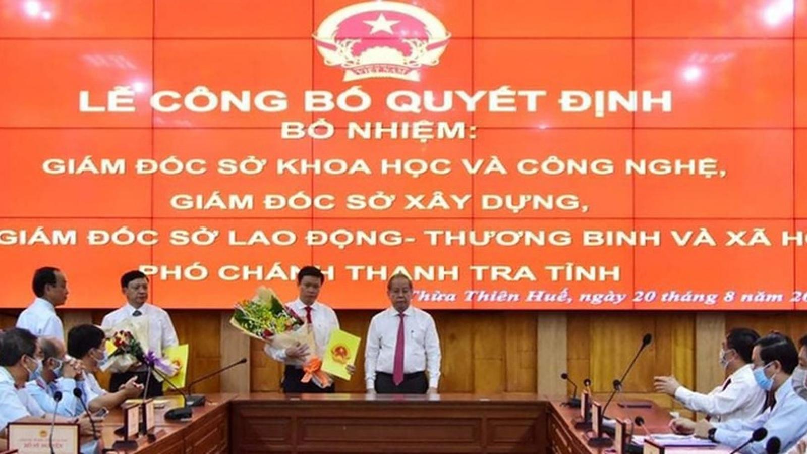 Thừa Thiên Huế bổ nhiệm cán bộ chủ chốt 4 sở, ngành