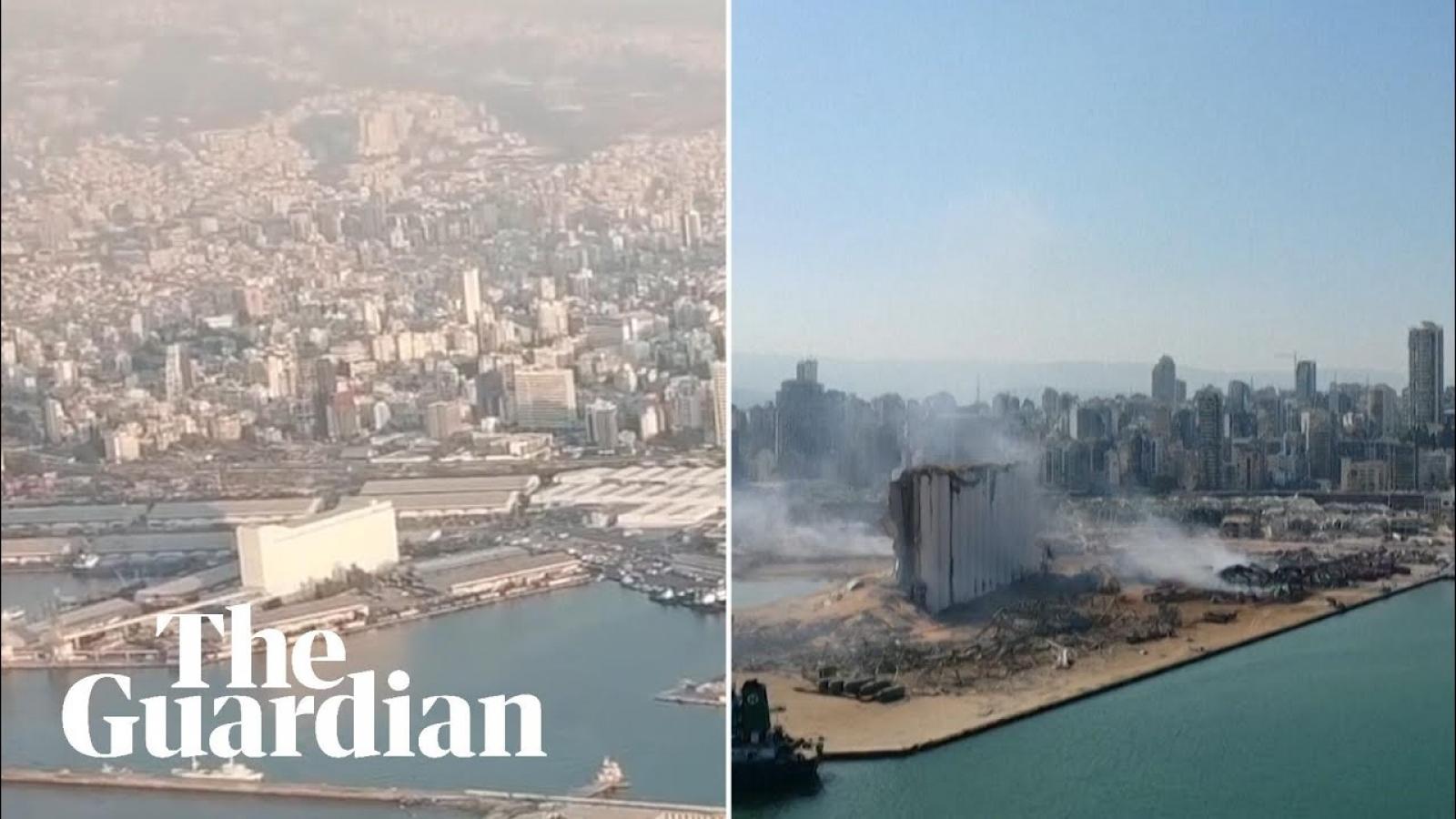Video: Hình ảnh trước và sau vụ nổ kinh hoàng ở Beirut (Lebanon)