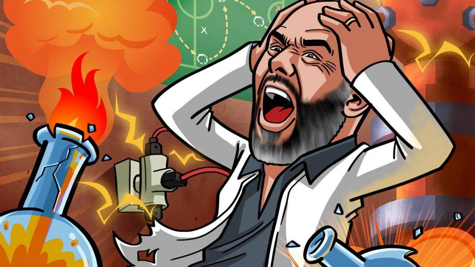 """Biếm họa 24h: Pep Guardiola """"phát điên"""" vì cuộc thí nghiệm bóng đá ở Man City"""