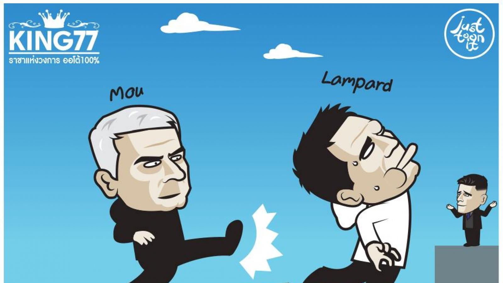 Biếm họa 24h: HLV Mourinho không nể tình thầy trò, tung đòn đá Lampard