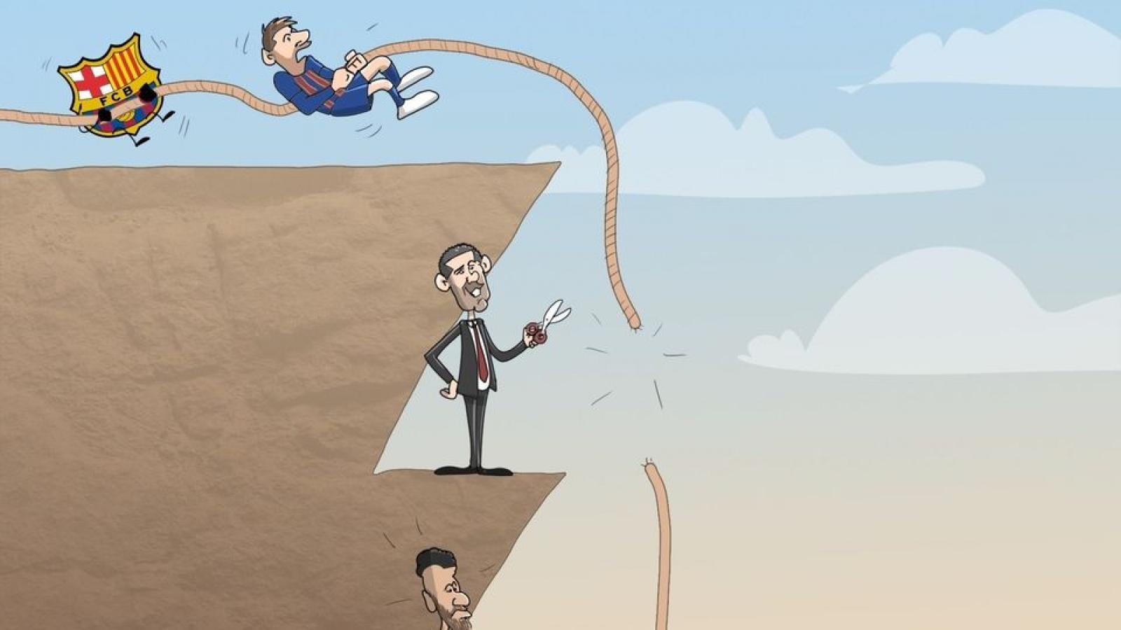 Biếm họa 24h: Messi bất lực nhìn Suarez gia nhập Atletico Madrid
