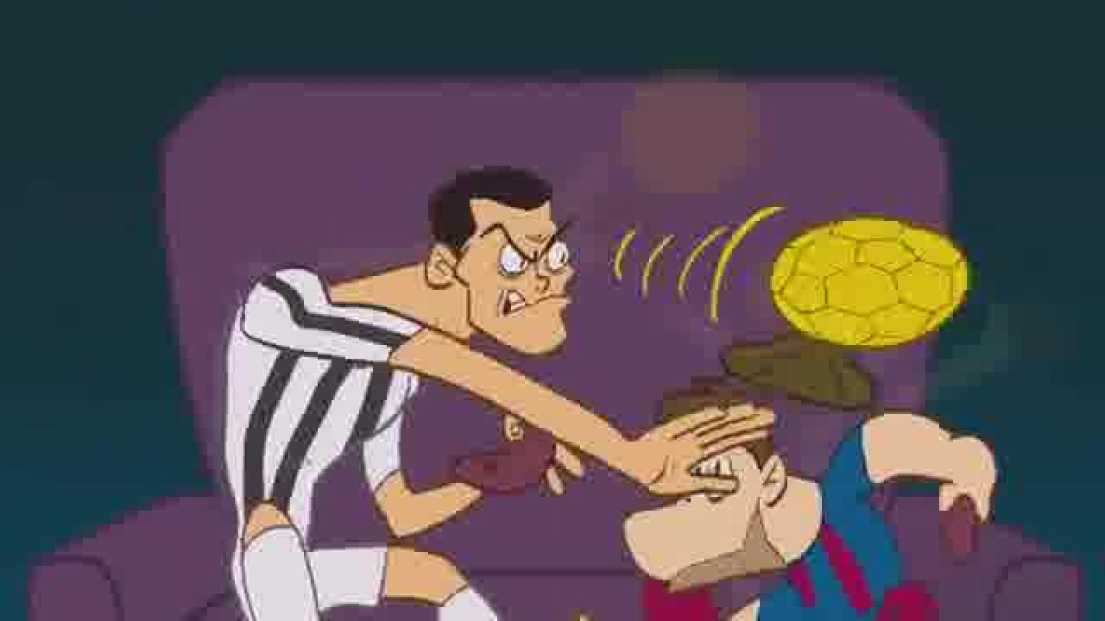 Biếm họa 24h: Ronaldo cầm Quả bóng Vàng ném Messi