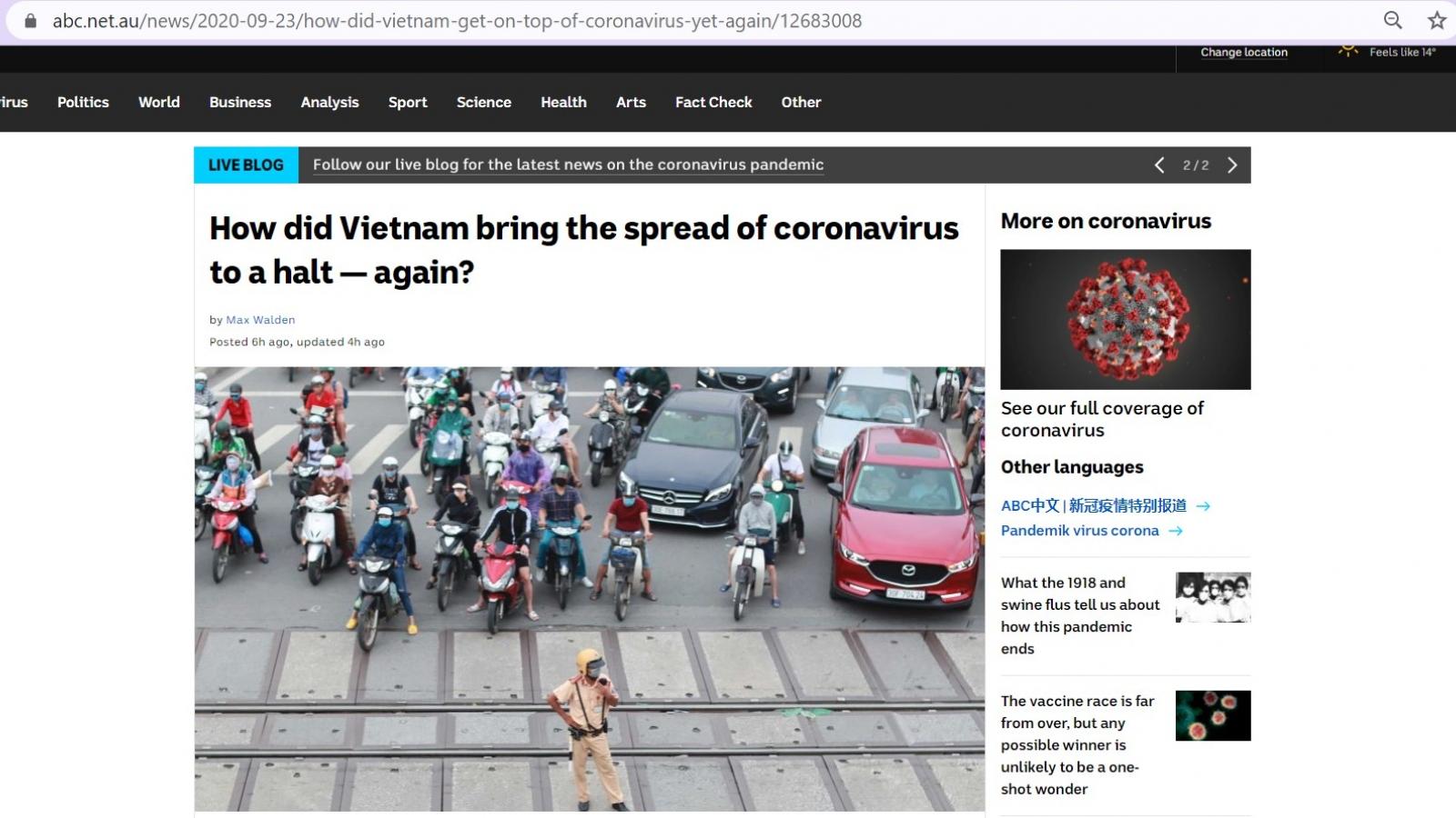 Báo Australia: Việt Nam dập dịch Covid-19 lần 2 nhanh, hiệu quả và không tốn kém