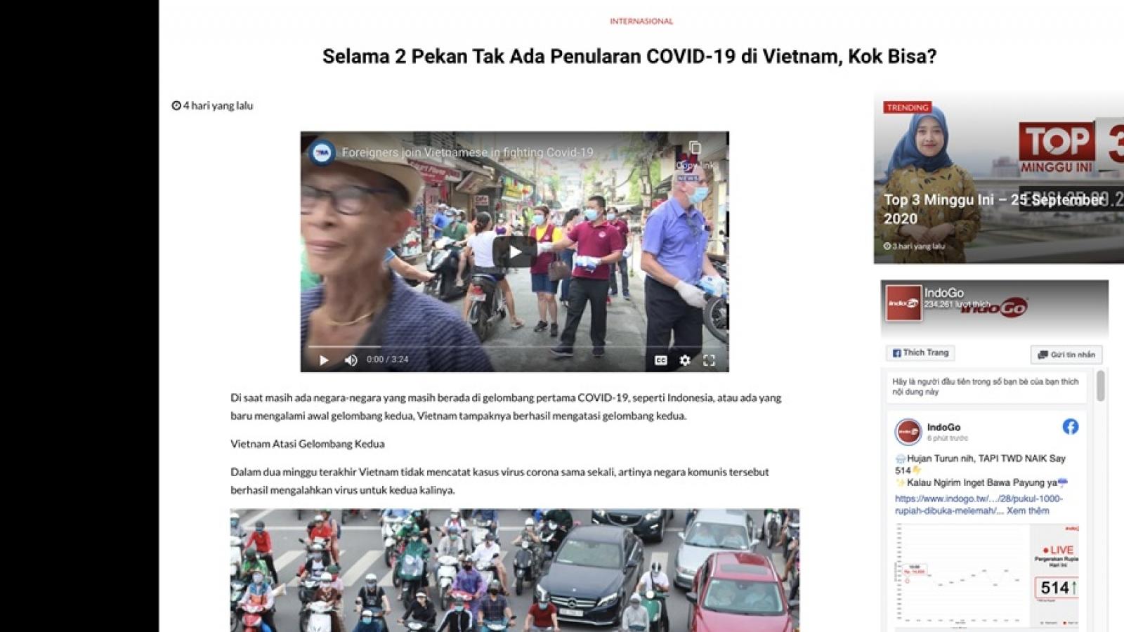 Báo chí Indonesia ca ngợi Việt Nam xửlý làn sóng Covid-19 thứ 2 và phục hồi kinh tế