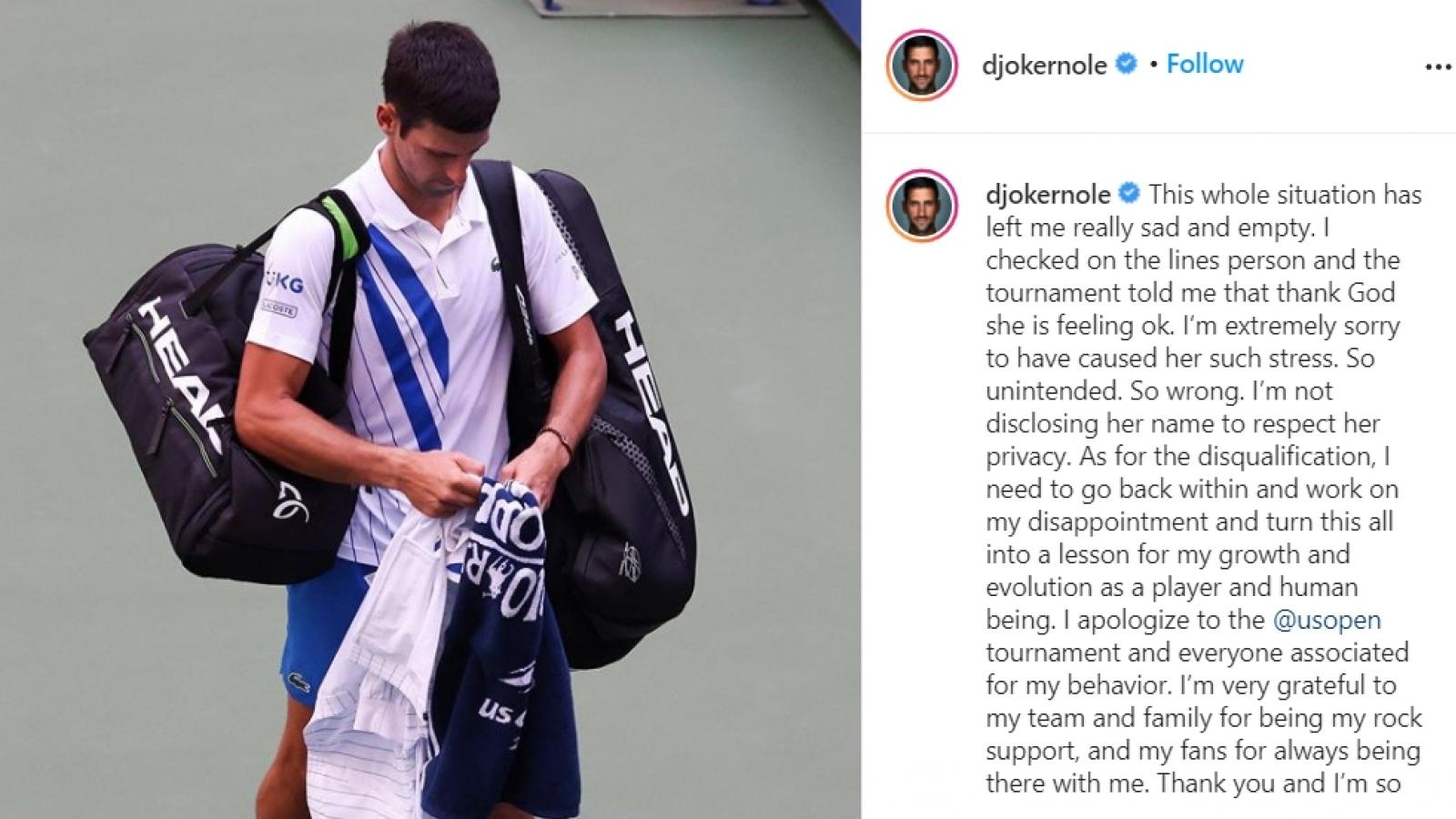 Djokovic xin lỗi sau sự cố đánh bóng trúng cổ trọng tài ở US Open