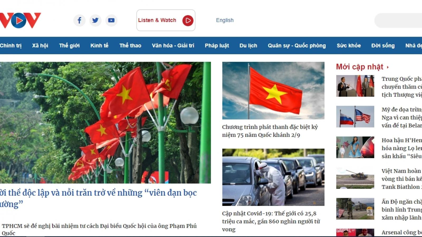 Báo điện tử VOV thay giao diện mới nhân kỷ niệm 75 năm thành lập Đài Tiếng nói Việt Nam