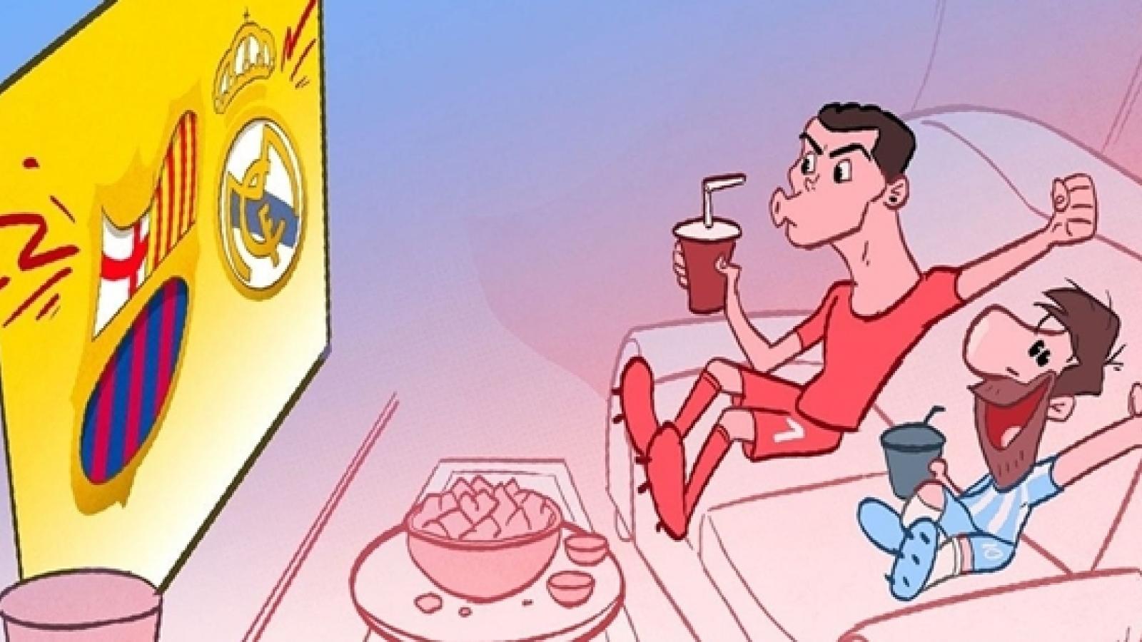 Biếm họa 24h: Messi và Ronaldo cùng nhau ngồi xem El Clasico mùa tới?