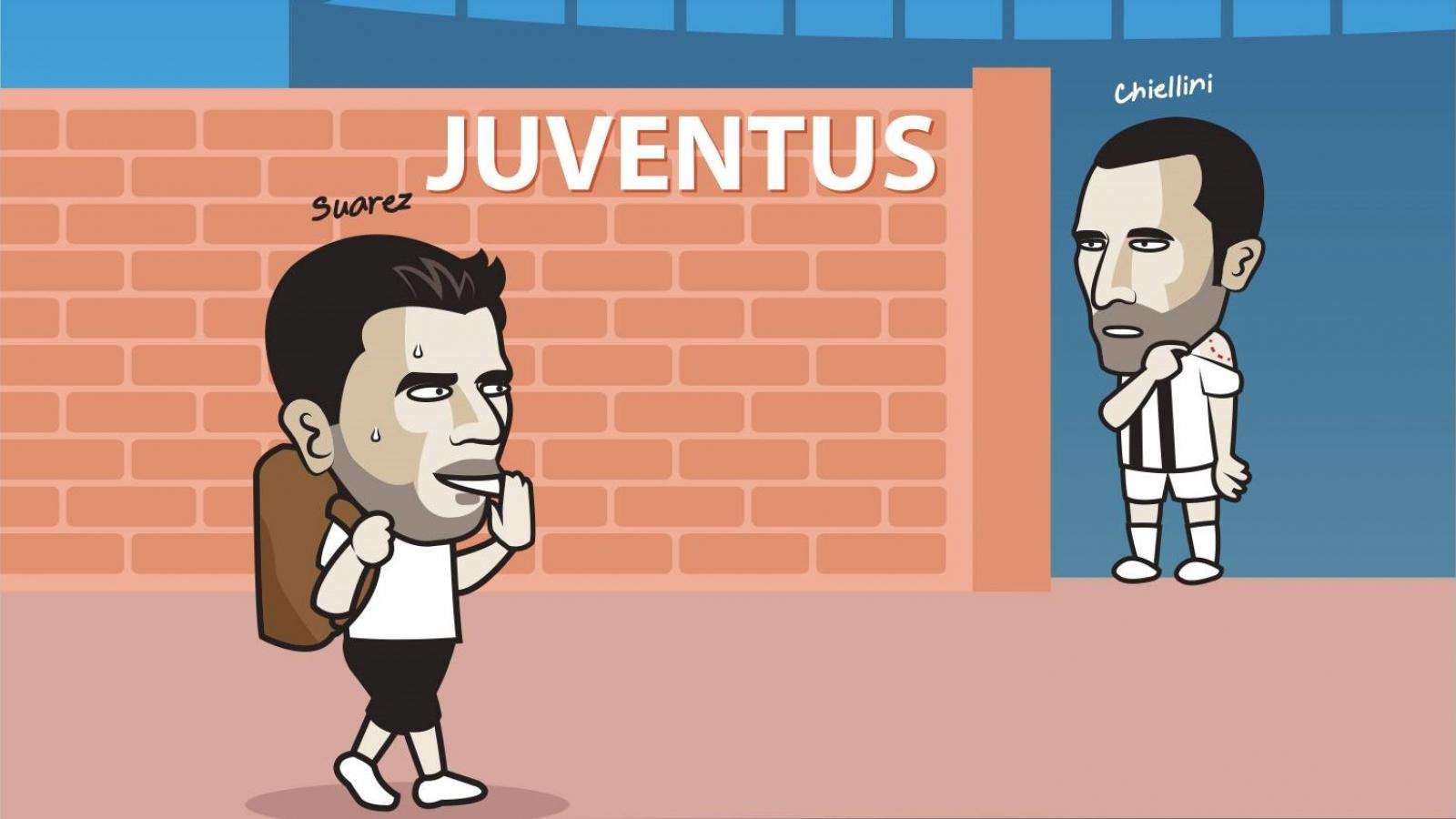"Biếm họa 24h: Chiellini chờ ""tính sổ nợ"" với Luis Suarez tại Juventus"