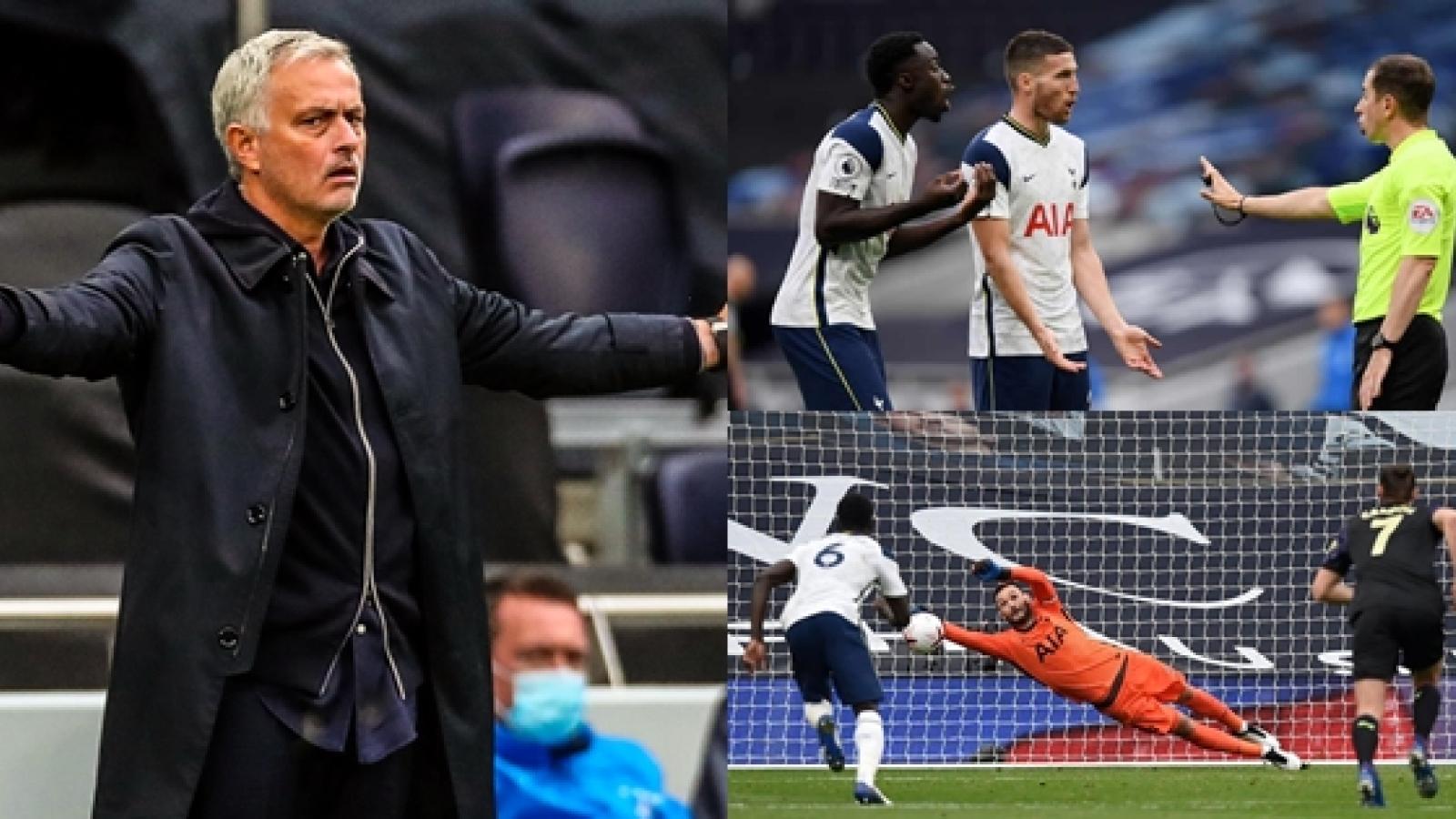 """Mourinho """"chết đứng"""" vì VAR, Tottenham đánh rơi chiến thắng trong nỗi cay đắng"""