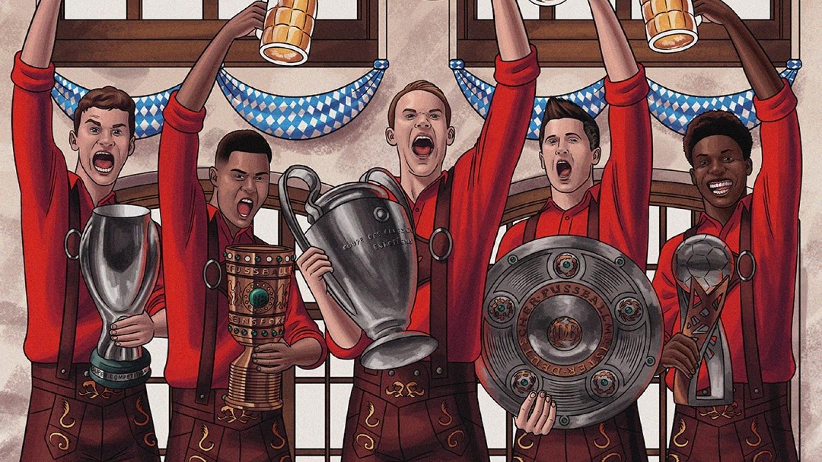 """Biếm họa 24h: Bayern Munich mở hội ăn mừng """"cú ăn 5"""" thần thánh"""